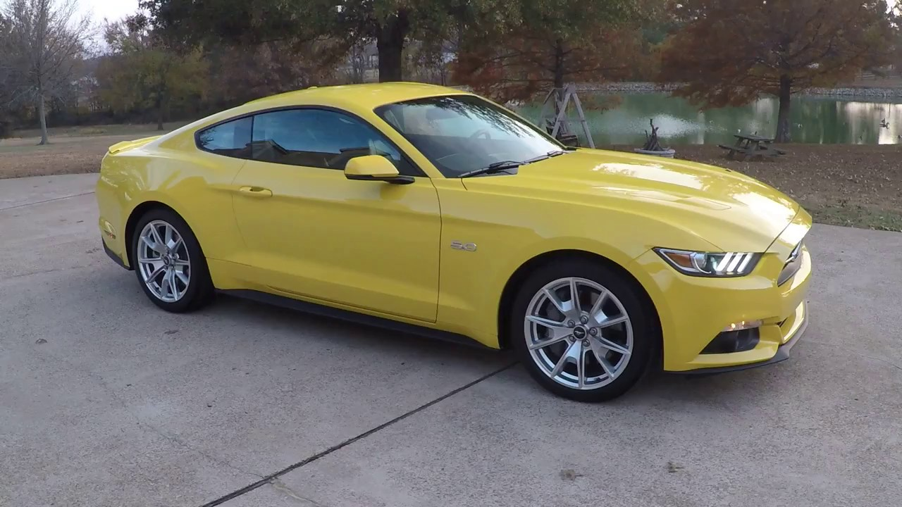 hd video 2015 ford mustang gt premium 50th anniversary yelow for sale info www sunsetmotors com. Black Bedroom Furniture Sets. Home Design Ideas