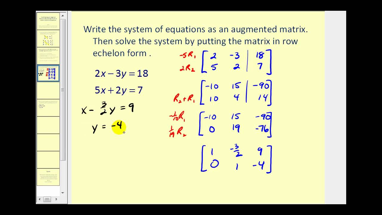 Augmented Matrices: Row Echelon Form - YouTube