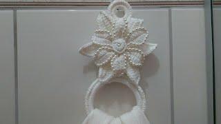 Porta Guardanapos ou Tolhas com Pérolas em Crochê