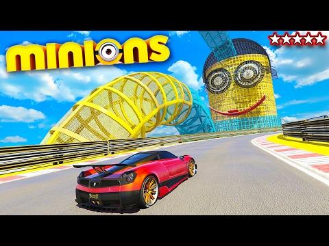 FROM THE MINIONS MOVIE: THE MINION MODDED STUNT RACE!! GTA V Funny Moments & FAILS