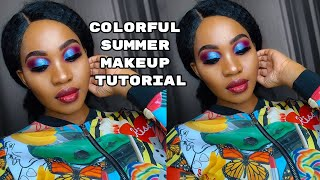 EASY SUMMER COLORFUL SMOKEY EYE  FULL FACE MAKEUP TUTORIAL