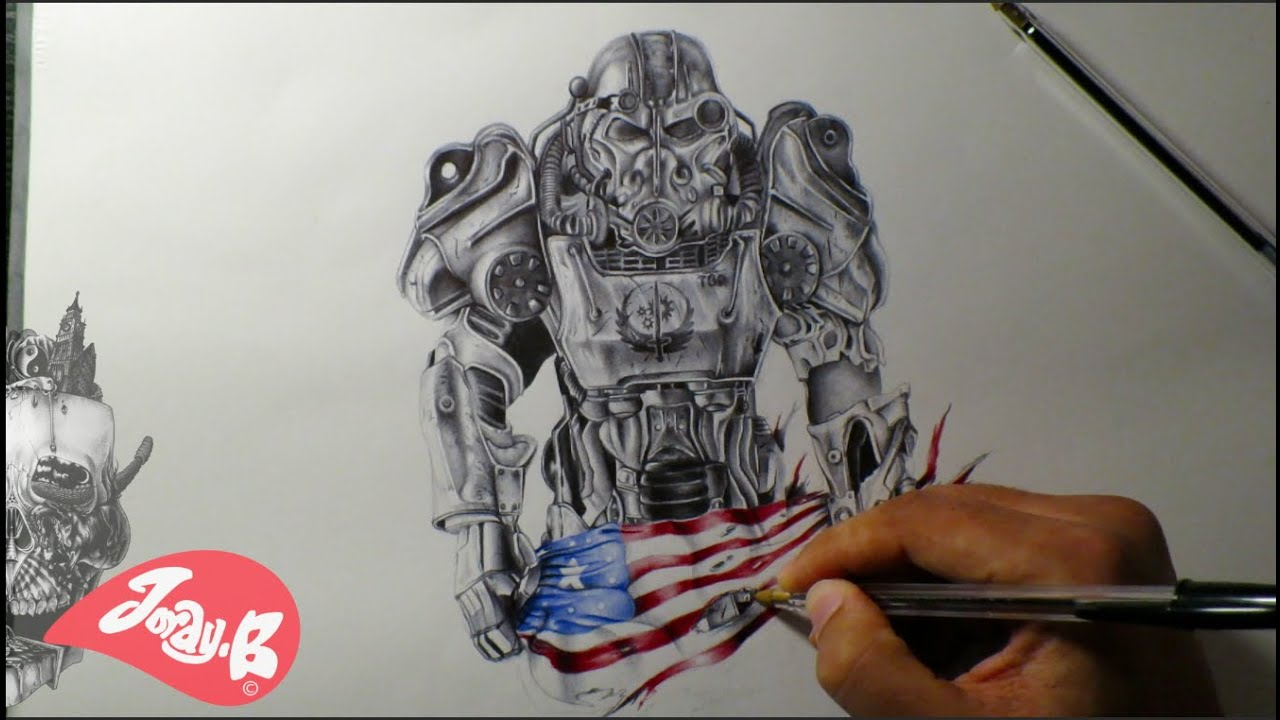 Drawing fallout 4 Power Armour in Ballpoint pen - YouTube