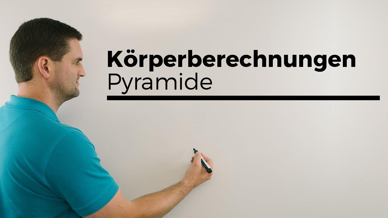 Körperberechnungen, Pyramide, Spitze über Eckpunkt, Volumen ...