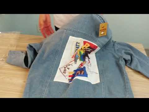 Áo Khoác Jeans Nam Xanh Vải Dày In Hình A357