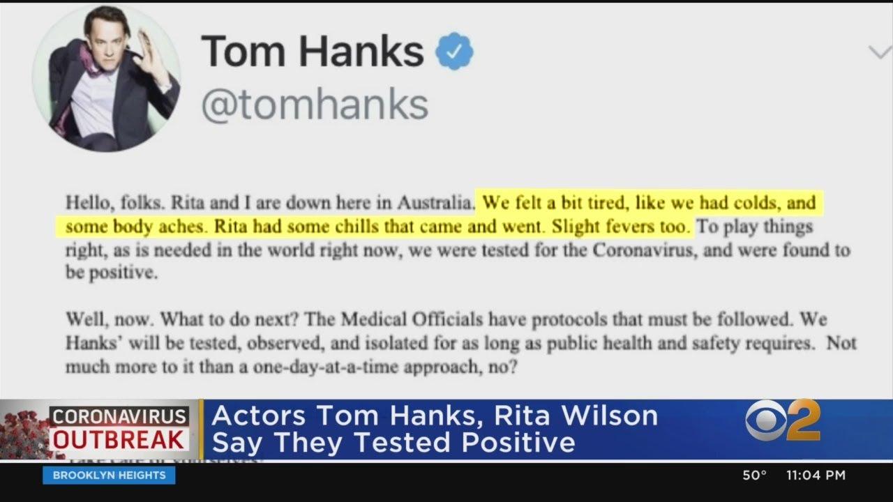 Coronavirus Update: Tom Hanks, Wife Rita Wilson Test Positive