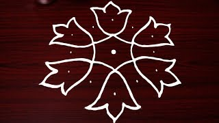 small and simple rangoli designs with 7x4 dots - kolam designs - rangavalli - muggulu designs