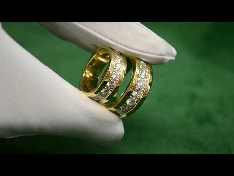 Обручальные кольца на заказ из жёлтого золота 585 пробы с крупными бриллиантами