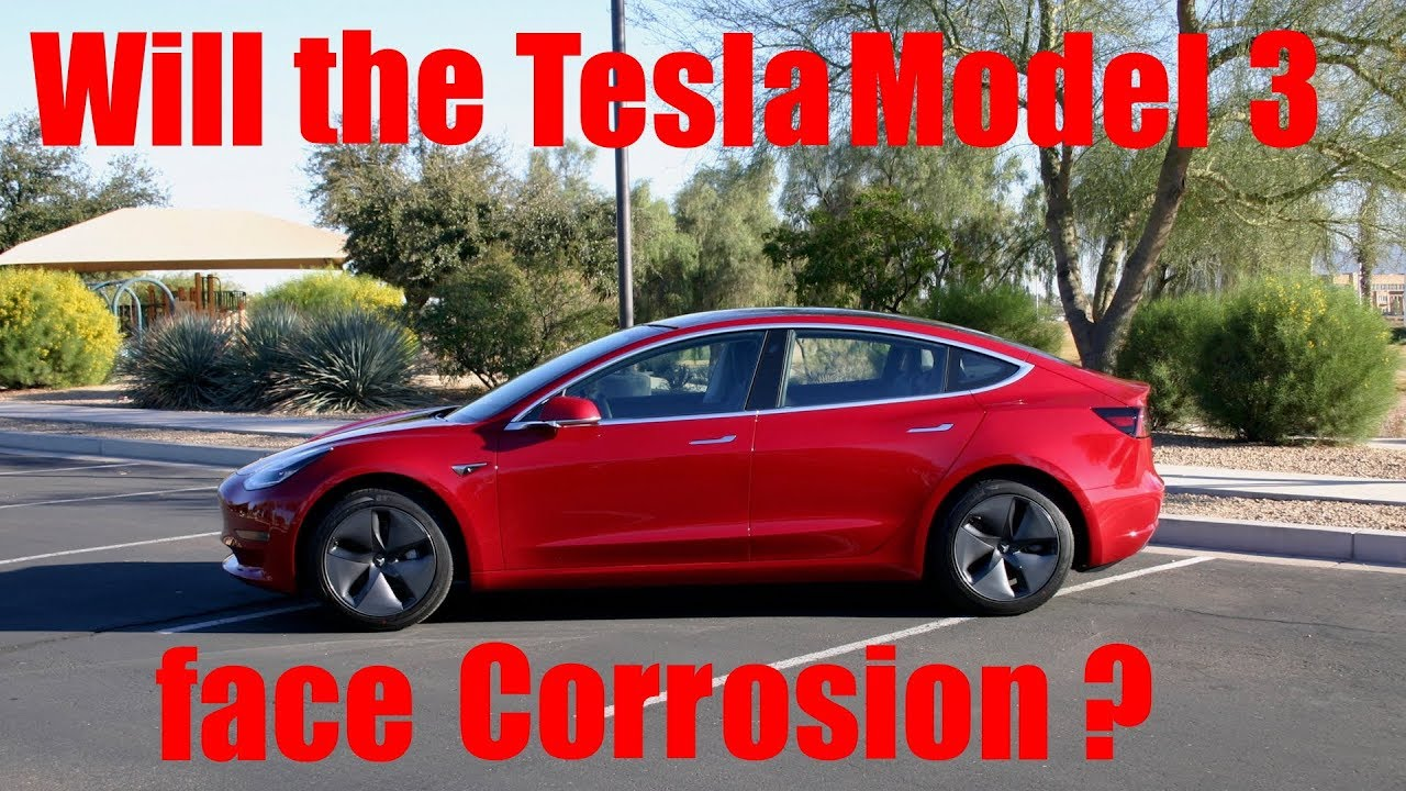 This Image Alleges Evidence of Rust on a Tesla Model 3 Door