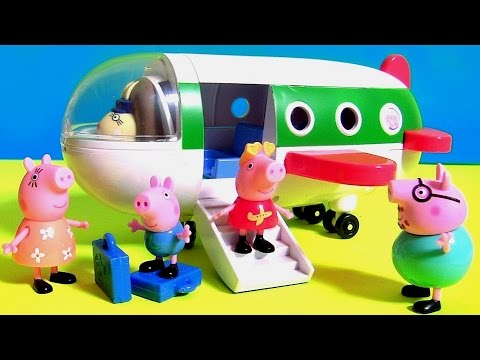 Pig George traveling by Plane in Peppa Pig Holiday Airplane Jet ~ Disney Toys Surprises PJ Masks
