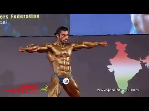 Sangram Chougule poses on maauli song at world body building 2014