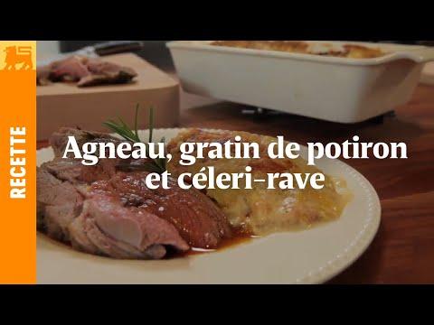 Agneau, gratin de potiron et céleri-rave