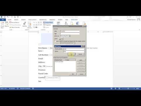 Microsoft Word Create Form (Office 2007/2010/2013/2016)