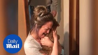 Heartwarming moment husband surprises wife with two puppies
