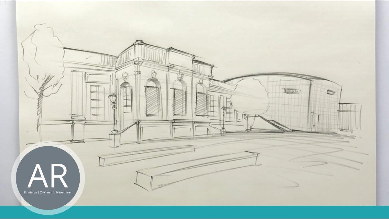 Architektur Skizzen in Perspektive perfekt zeichnen. Architektur in Wien  studieren. Mappenkurs Wien