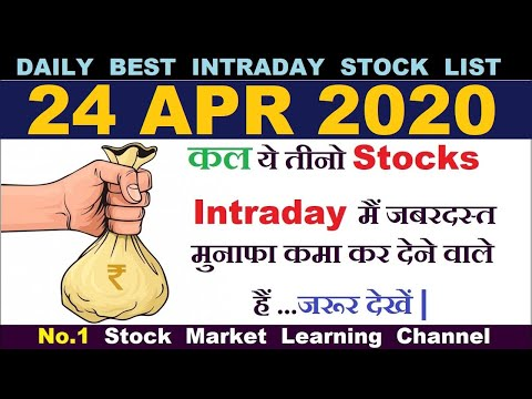 Best intraday trading stocks for 24 APR 2020 | Intraday trading strategies|StockMarketHacks|