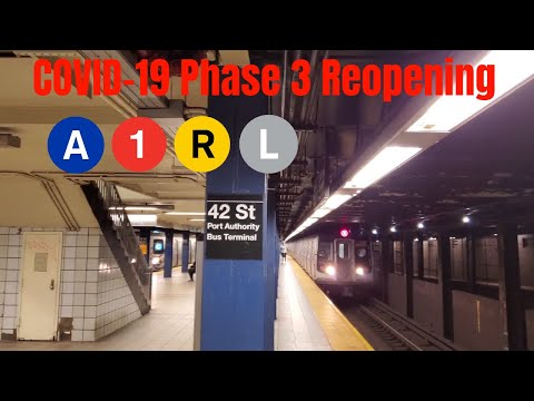 NYC Subway COVID-19 Phase 3: A 1 R L train expedition (7/14/2020)