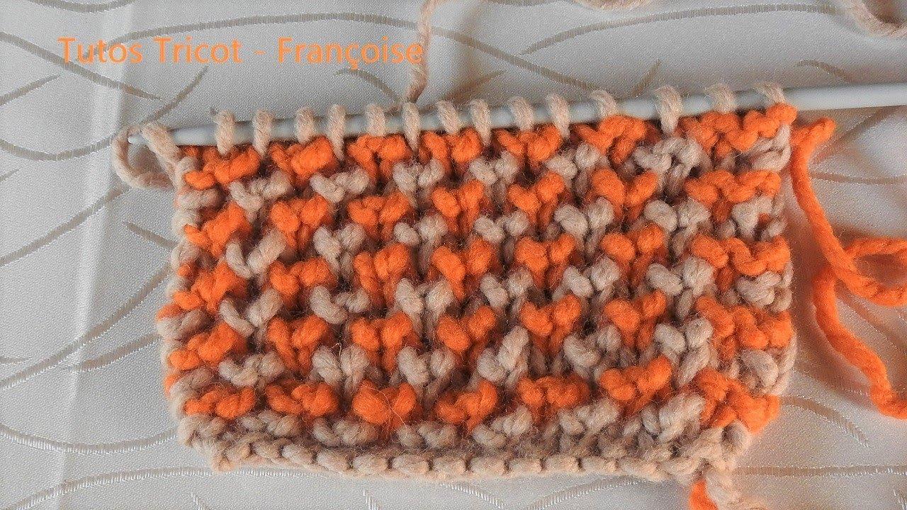 c9a471fdb60 Tuto Tricot Côtes Anglaises Contrariées avec 2 couleurs