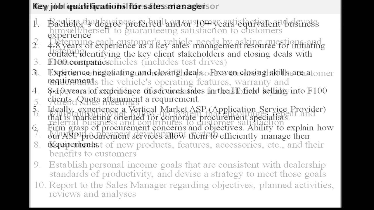 Sales Advisor Job Description Youtube