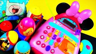 Surprise EGGS Minnie Mouse Cash Register THOMAS AdventureTime Super Mario Frozen Cars Spiderman Shop