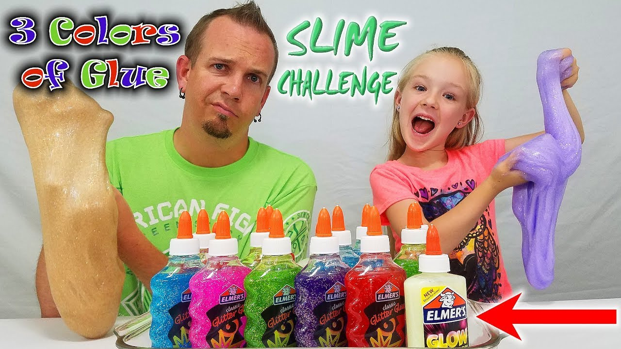 3 Colors Of Glue Slime Challenge W Our Dad Special Glow