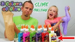 3 Colors of Glue Slime Challenge w/ Our Dad! Special Glow in the Dark Glitter Slime!