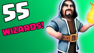Clash of Clans [HOW TO USE WIZARDS: CALLING ALL UNITS SERIES! 55 WIZARDS ATTACK IN COC!]
