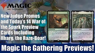 MTG New Judge Promos and 14 War of the Preview Cards Including Ilharg, the Raze-Boar