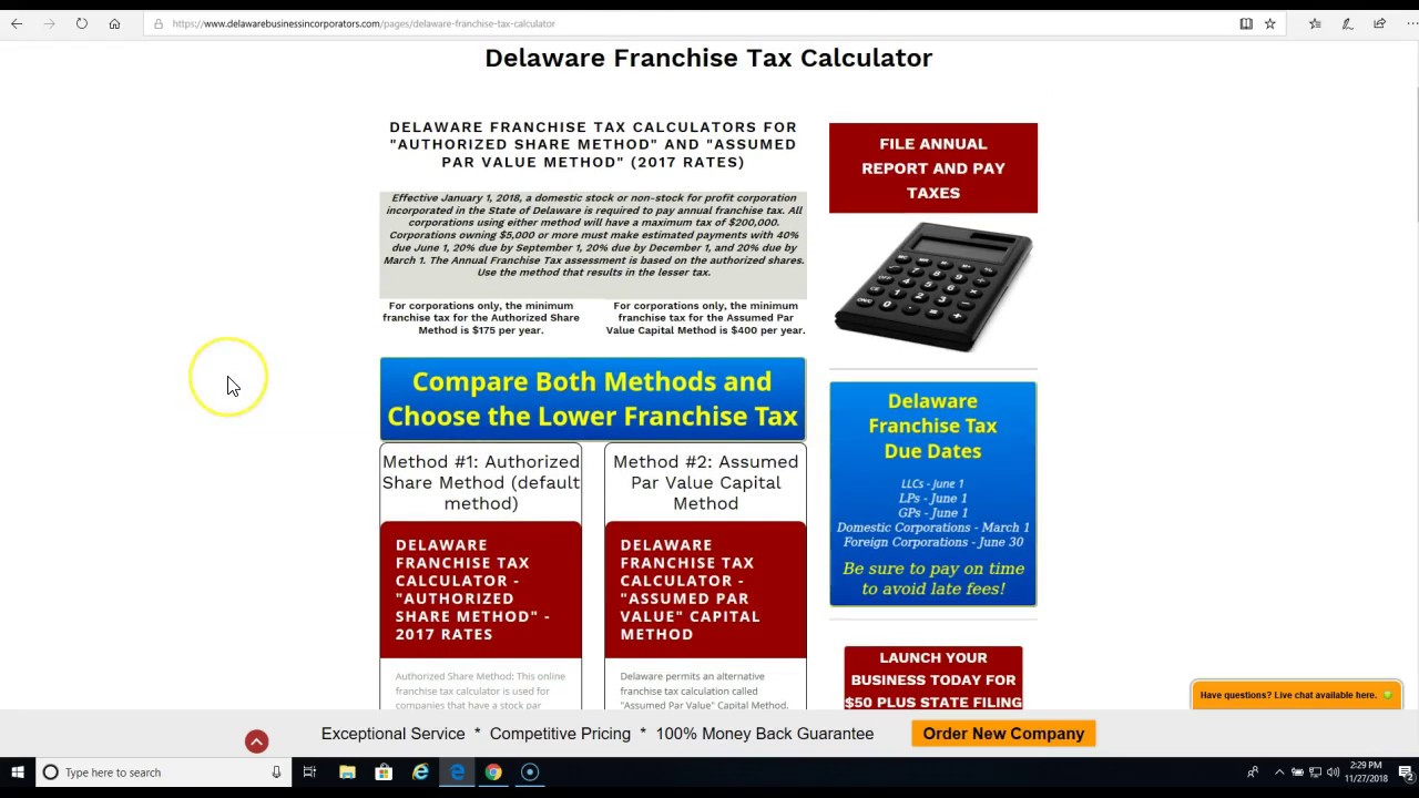 Delaware Franchise Tax Calculator | Delaware Business