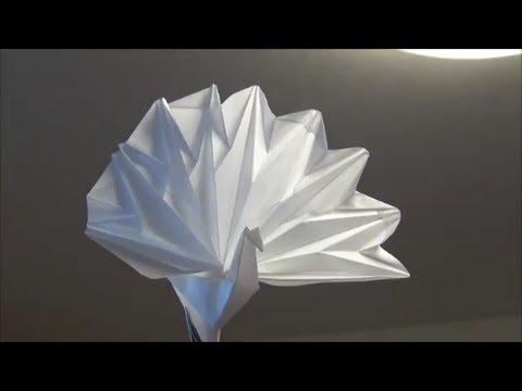 「孔雀」トレペ折り紙Peafowlorigami(Tracing paper