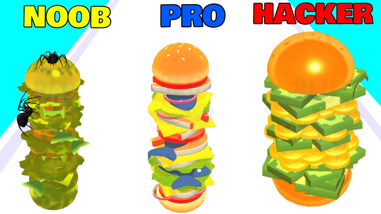 NOOB vs PRO vs HACKER in Burger Rush