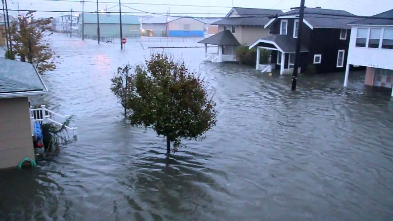 Hurricane Sandy in Ocean City, NJ: first high tide