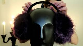 ASMR Fluffy ear muffs - Scratching, brushing and tapping sounds (no talking)
