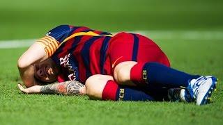 lionel Messi horrible Injury vs las palmas Лео Месси травма 2015  золотой мяч(Видео плагиат, не авторское Нападающий «Барселоны» Лионель Месси был заменен на 10-й минуте матча 6-го тура..., 2015-09-27T13:50:49.000Z)