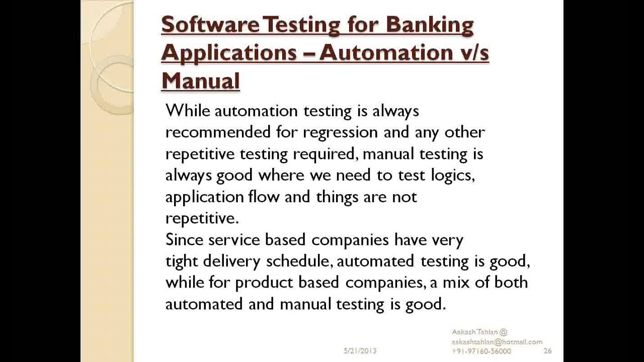 Software Testing Series (Session 20): Software Testing in Banking Domain