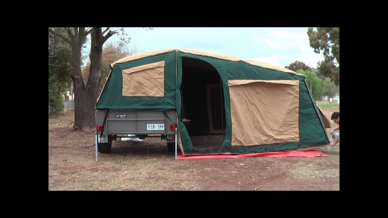 Trailers For Less >> Camper Trailer Tent Setup - YouTube