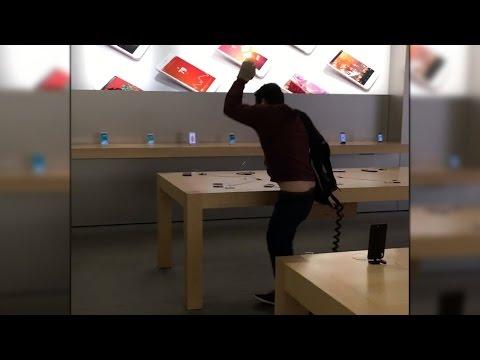 Entra a una Apple Store de Francia y destruye varios iPhone y MacBook