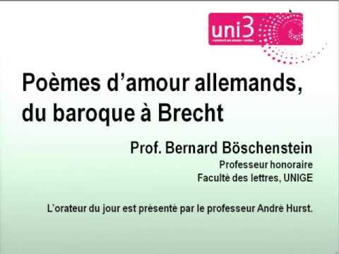 Poèmes Damour Allemands Du Baroque à Brecht