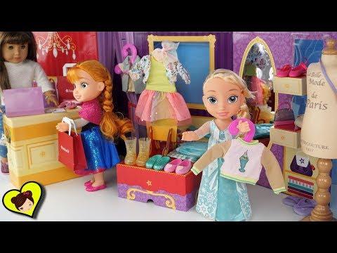 Princesitas Elsa y Anna se Prueban y Compran Nueva Ropa de Muñecas
