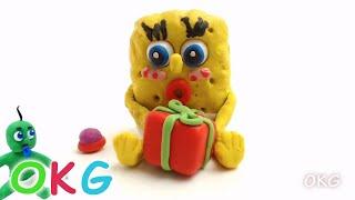 Baby SpongeBob SquarePants Video Christmas Present Opening Toys Play Doh Stop Motion