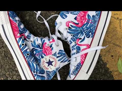 097cc9c99602 Custom Flamingo Floral Painted Converse All Stars   Handpaited Sneakers  (short closeup video)