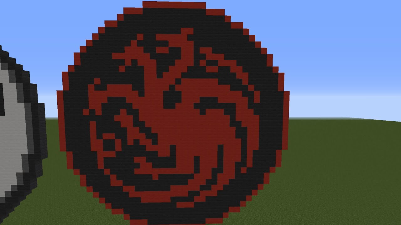Minecraft Tutorial Pixel Art Game Of Thrones House Targaryen Coat Of Arms Youtube