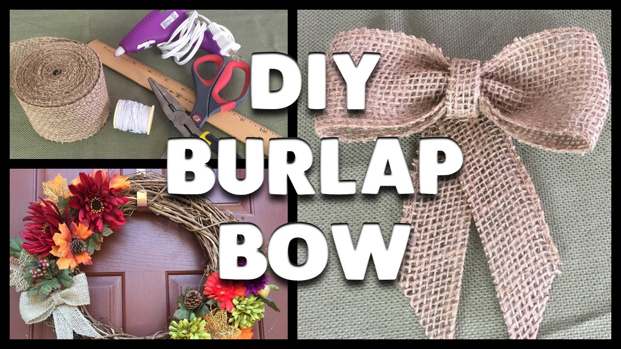 Diy how to make a burlap ribbon bow youtube for How to use burlap ribbon