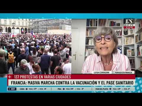 Francia: masiva marcha contra la vacunación y el pase sanitario. 137 protestas en varias ciudades.