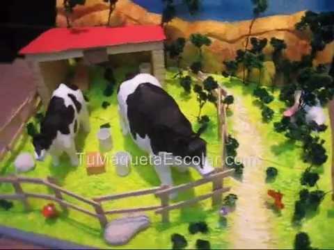 Maqueta de granja con vaca y ternera youtube for Como hacer una granja de peces