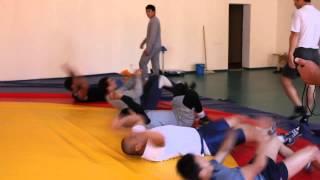 Тренировка сборной Казахстана по вольной борьбе