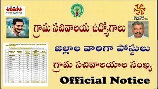 Ap Grama sachivalayam Official Notification 2019 ap ward sachivalayam district wise jobs salary VRO