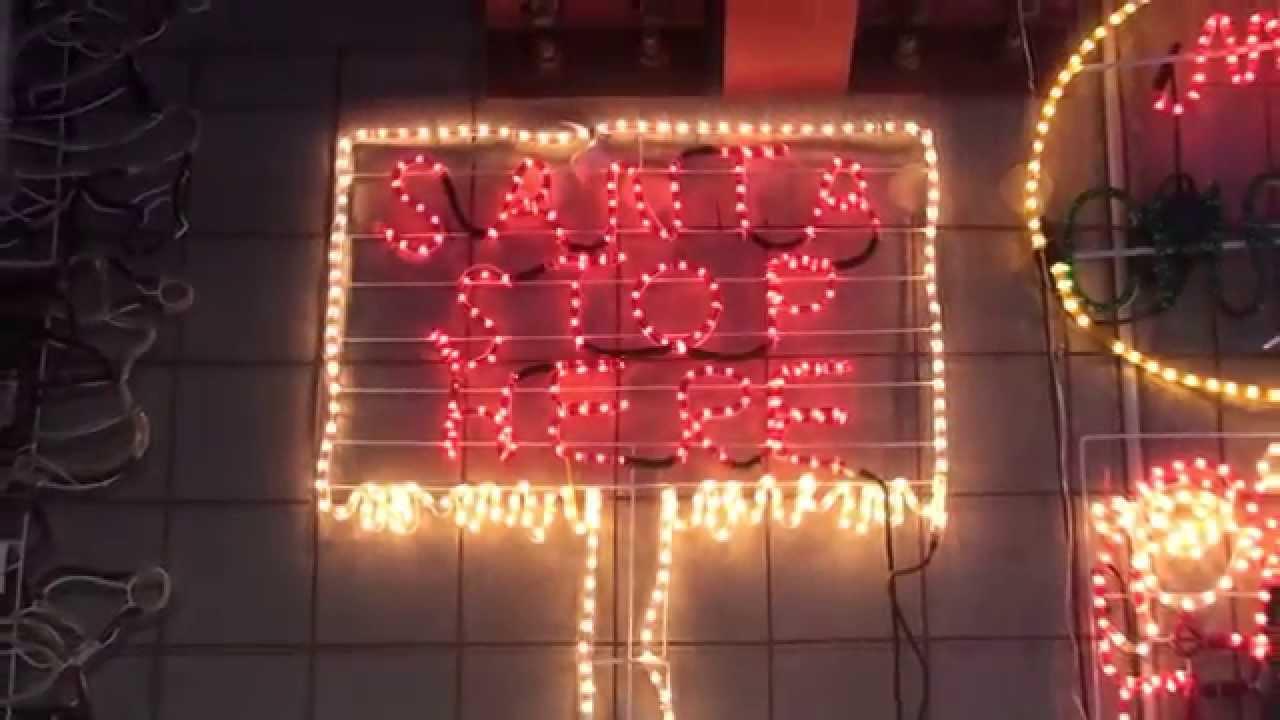 Christmas lighting show display santa christmas rope light sign christmas lighting show display santa christmas rope light sign animation motif santa stop here youtube aloadofball Gallery