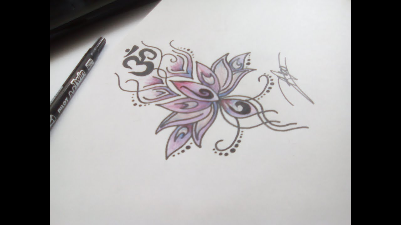 Dessin fleur de lotus et ohm youtube - Comment dessiner un lotus ...
