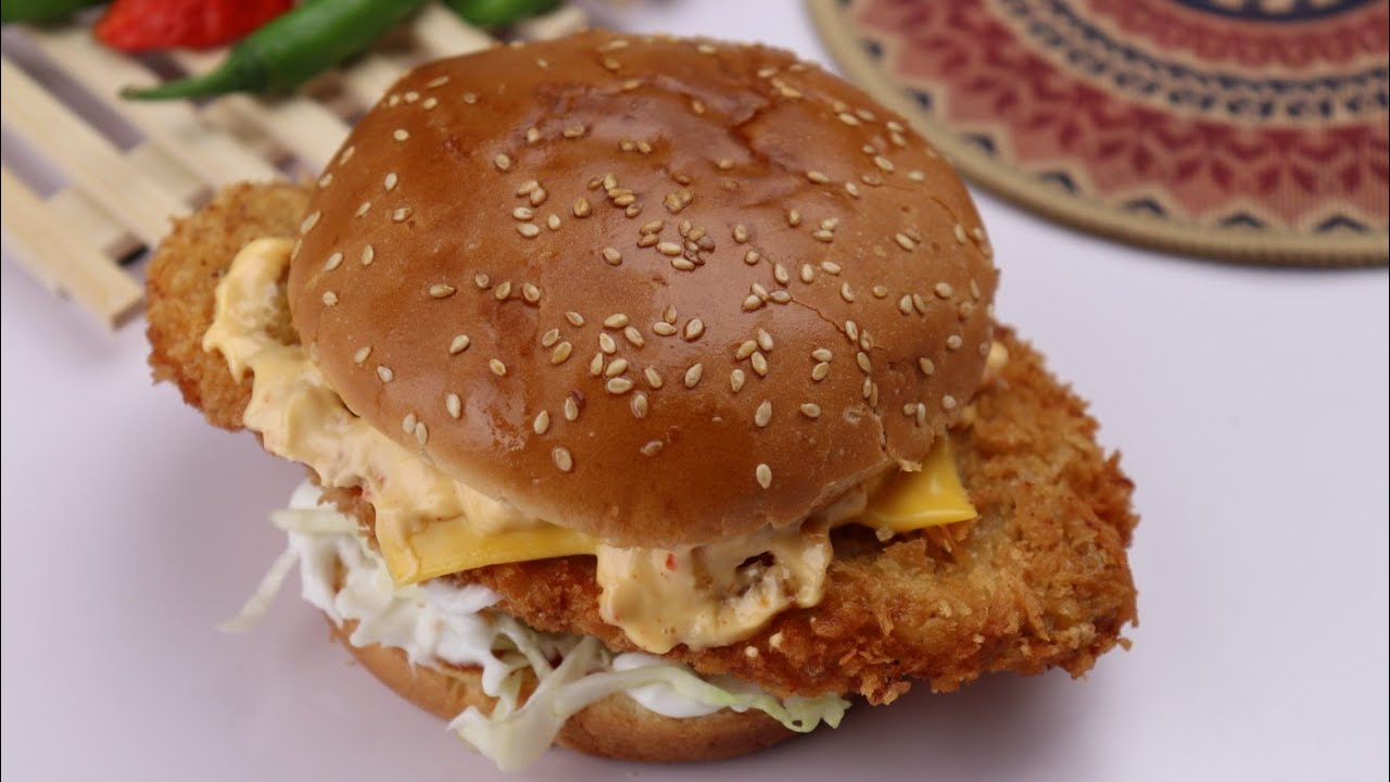 Crispy Chicken Burger in 5 minutes,Quick And Easy Recipe By Recipes Of The World