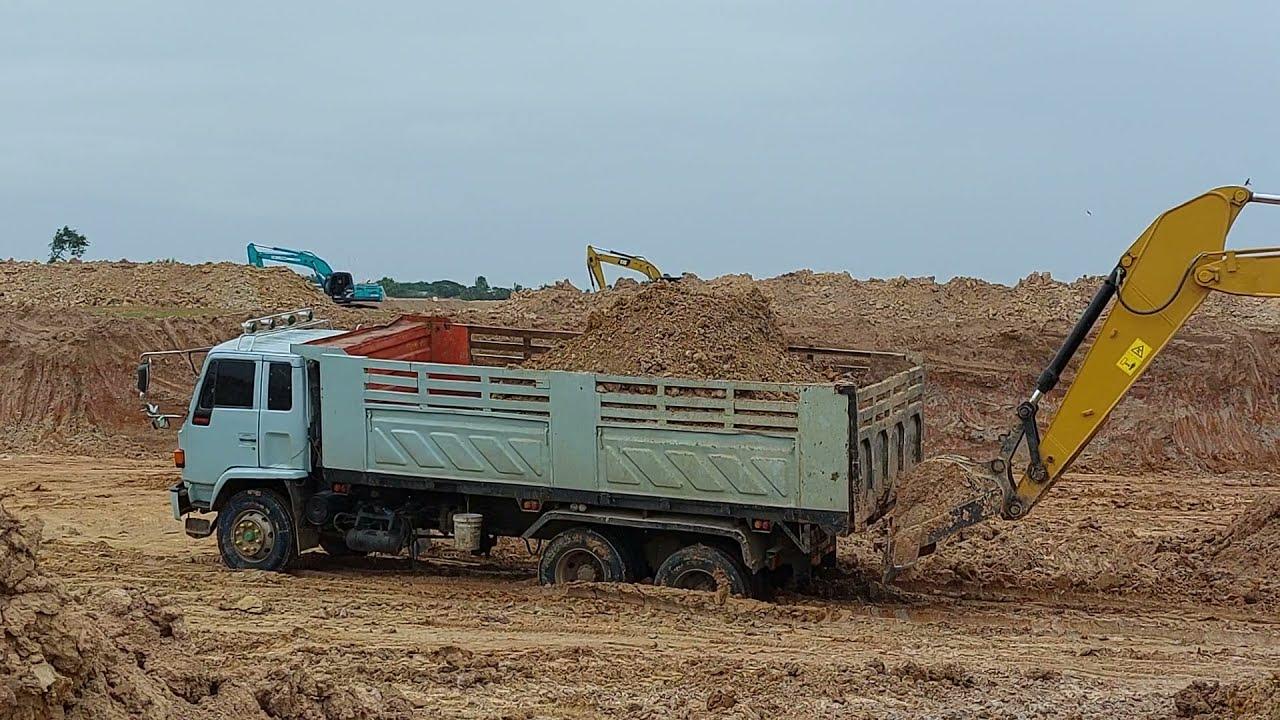 ดั้ม ROCKY 240 FXZ270 ติดหล่ม  SANY SY215C ACE สี่เสือ ถล่มอ่างเก็บน้ำ excavator and truck EP.8561
